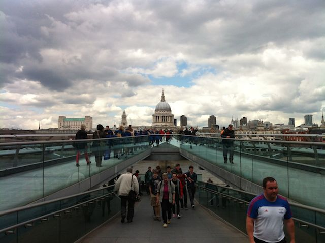 St Paul's in the distance viewed via the long axis of the Millennium Bridge