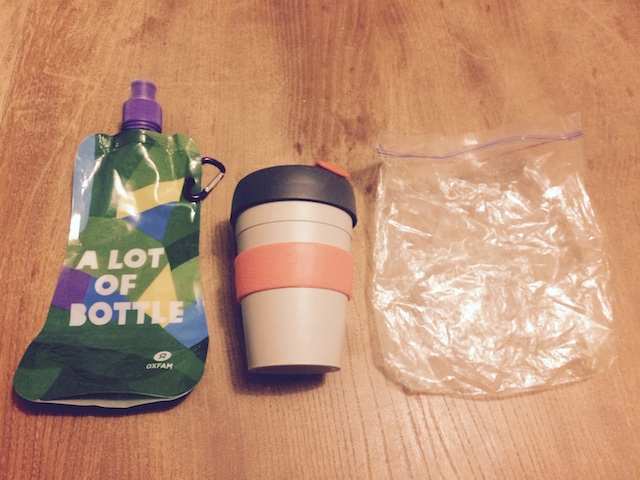 By carrying these three items with me a save loads of waste. The water bottle and coffee cup should be obvious. The plastic bag is for food waste which is hard to get rid of on the go. This way I can bring it home and feed it to the worms.