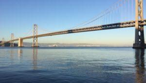 Bay bridge suspension bridge, seen from San Francisco Embarcadero