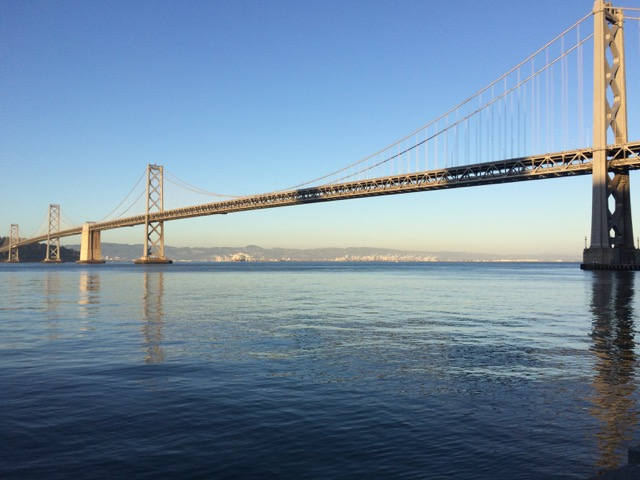 Bay bridge suspension bridge, seen from San Francisco Embarcadero