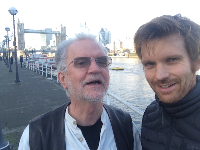 Image shows Søren Willert and Oliver Broadbent in London as they prepared training on Problem Based Learning for Engineers. They are standing by the Thames with Tower Bridge in the background