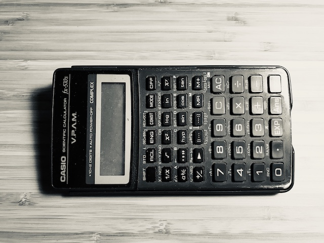 A Casio fx-570s calculator, shown to illusrate a blog article called 'working out what the buttons do on machines'