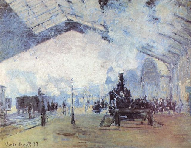 A photograph of Claude Monet's painting 'Arrival of the Normandy Train, Gare St Lazare', used to conjour up an image of the Impressionist painter preparing the colours in their palette before setting off on a journey to the Normandy countryside to paint.