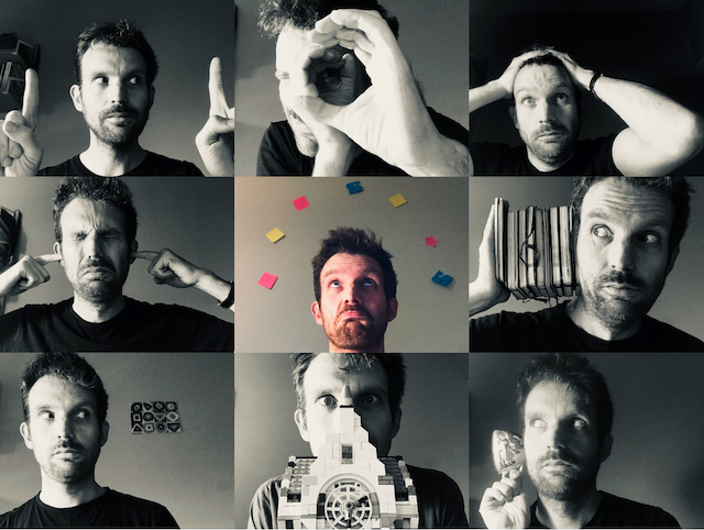montage of 9 photos in which Oliver Broadbent is miming different tools in the Eiffel Over creative tool box.