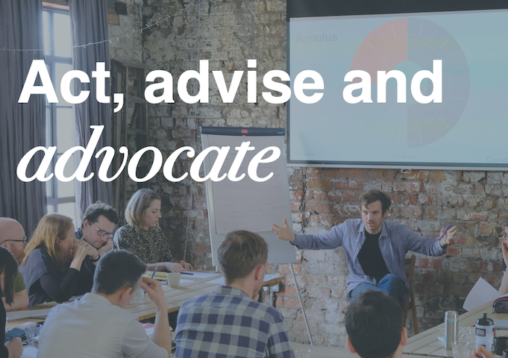 A picture of a training workshop with the words act advise advocate written over the image